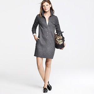 J. Crew Herringbone Wool Shirt Dress